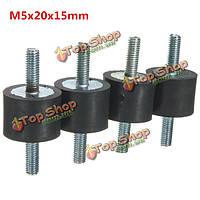 4шт m5x20x15мм двойников концы резиновых виброизоляторов резиновые ножки