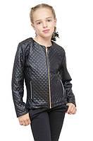 Куртка для девочки 104-134см, эко-кожа,  черный