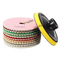 10шт 4-дюйма от 30 до 3000 грит полировки алмазов колодки комплект для гранита мрамора бетона