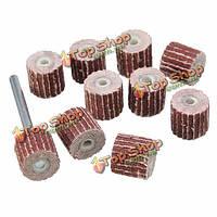 10шт 10мм 240 грит шлифования наждачной бумагой лоскут колеса установлены для вращающихся инструментов