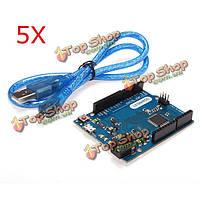5шт r3 доска Леонардо развития atmega32u4 с USB-кабель для Arduino