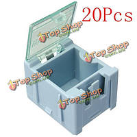 20шт Mini ОУР SMD чип конденсатор резистор компонент коробке синий