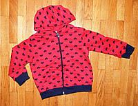Детские кофты для девочек Сердечко красная 2-4 лет