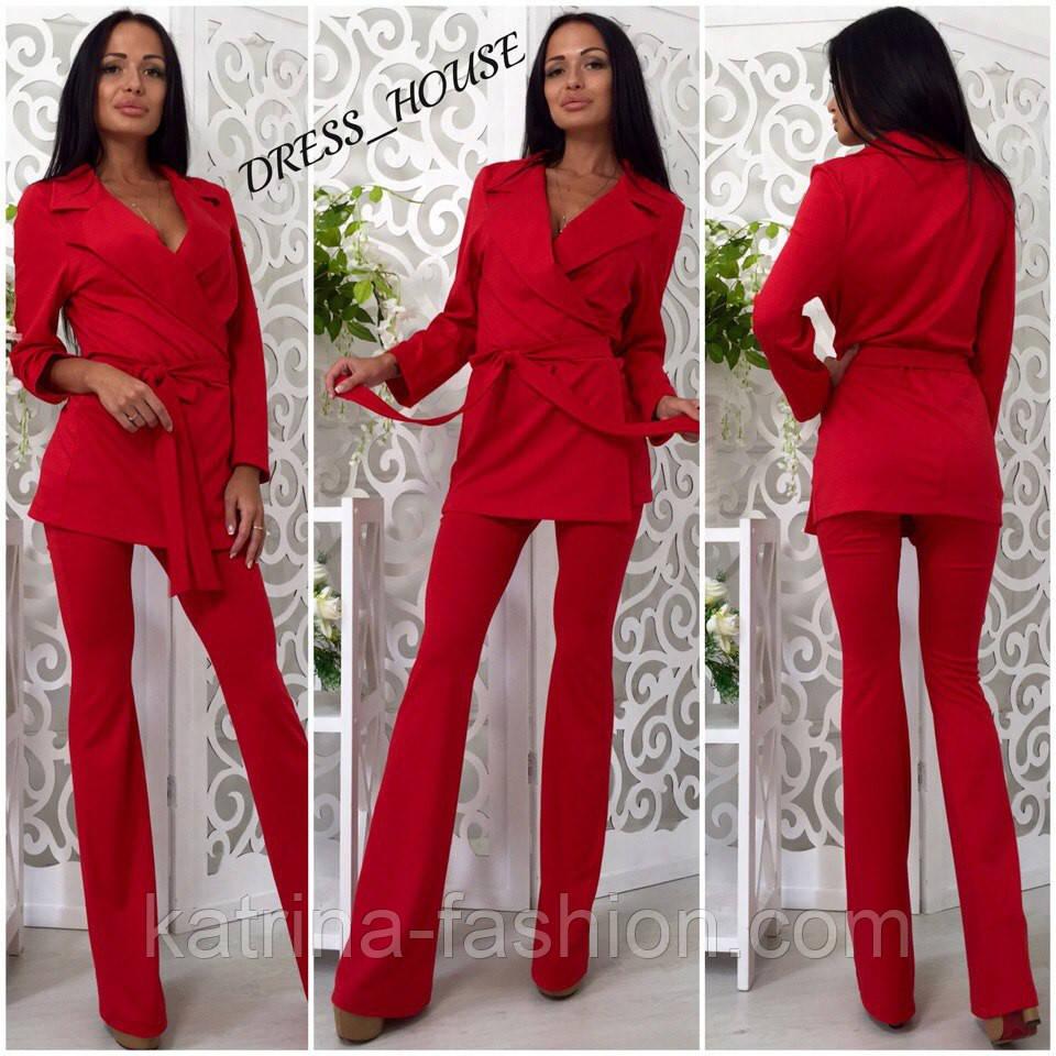 Женский модный брючный костюм: жакет и брюки (4 цвета)