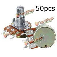 50шт b10k Ом линейный конусной поворотный потенциометр 3 выводами гайки вала 15мм
