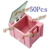 50шт мини-esd SMD конденсатор резистора чипа составляющая розовая коробка
