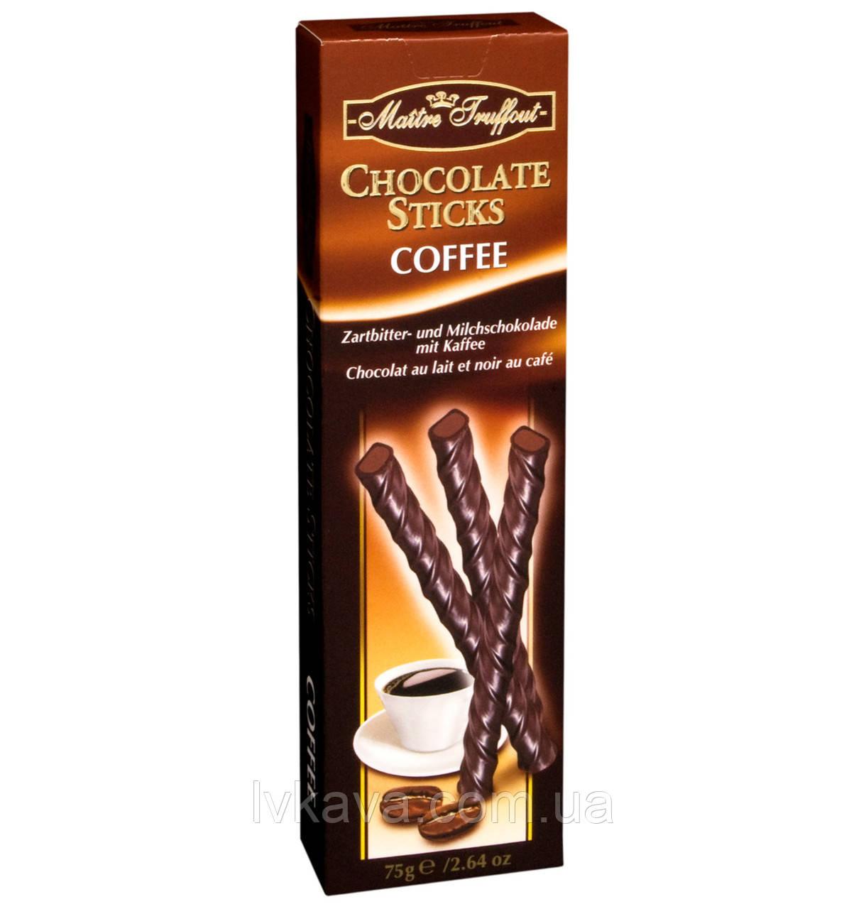 Черный шоколад Chocolate Sticks Coffee  Maitre Truffout  , 75 гр