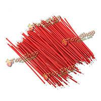 100шт макет соединительный кабель провода для эксперимента тест-1.0мм 6см красный