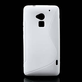 Чехол силиконовый S формы на HTC ONE MAX, белый