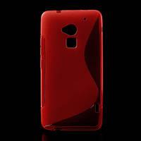 Чехол силиконовый S формы на HTC ONE MAX, красный