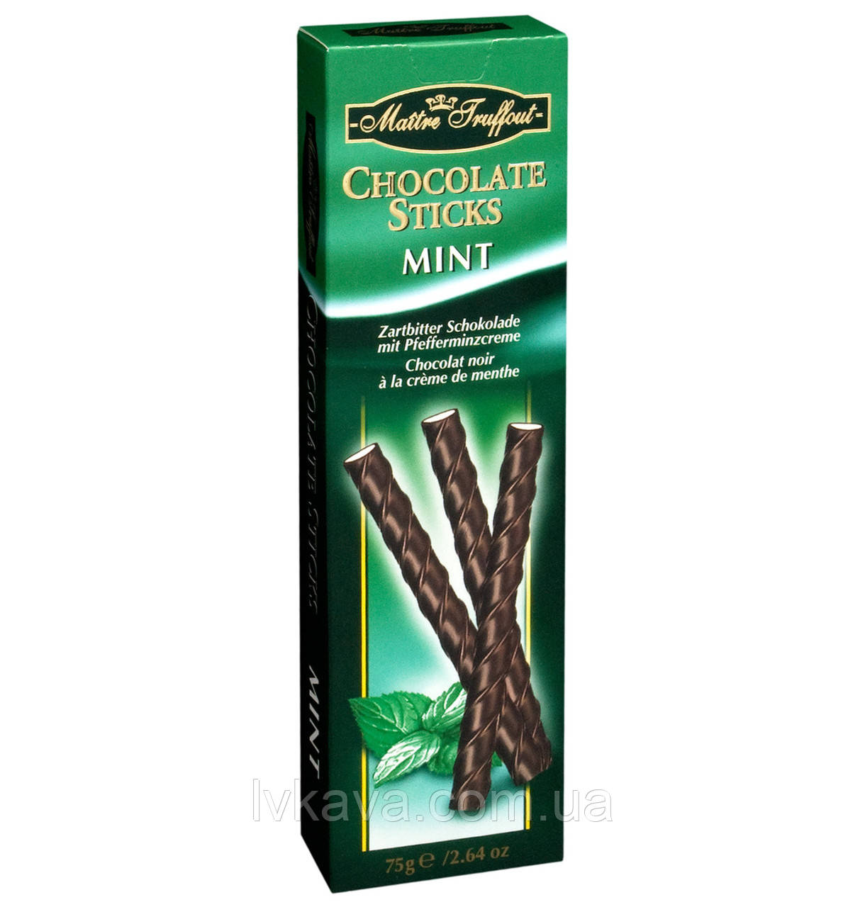 Черный шоколад Chocolate Sticks Mint Flavour  Maitre Truffout  , 75 гр