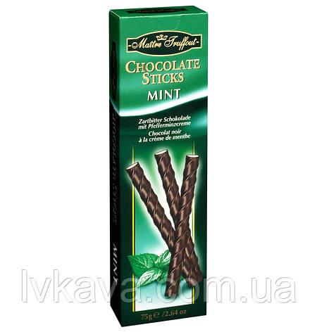 Черный шоколад Chocolate Sticks Mint Flavour  Maitre Truffout  , 75 гр, фото 2