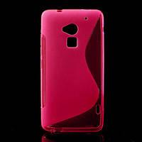 Чехол силиконовый S формы на HTC ONE MAX, розовый
