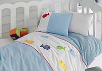 Постельное белье для детской кроватки Cotton Box вышивка Akvaryum Mavi