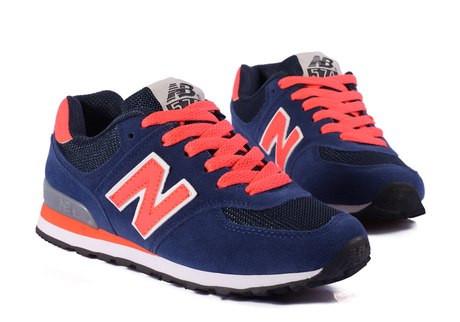 Кросівки жіночі сині з помаранчевим