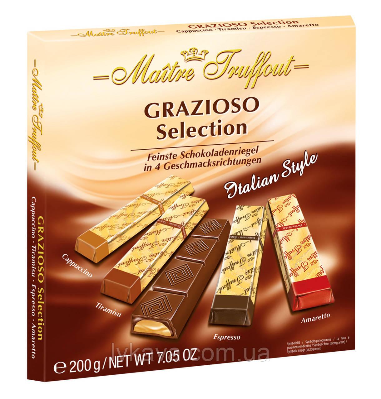Черный и молочный  шоколад Grazioso Selection Italian style  Maitre Truffout  , 200 гр