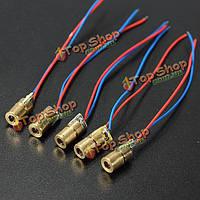 100шт постоянного тока 5В 5 МВт 650nm красная медь 6мм пробки головки точка лазера диодный модуль