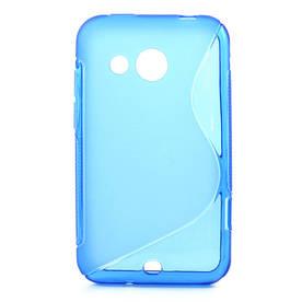 Чехол силиконовый  S формы на HTC Desire 200 102e, синий