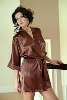Стильный сатиновый халат 90 TM Dkaren (Польша) Цвет коричневый