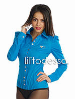 Рубашка-боди с острыми плечиками синее