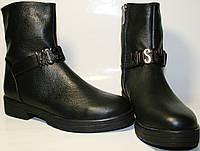 Полусапожки женские Olli 3450 осенние, на низком ходу, черные, натуральная кожа, молния.