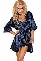 Шикарный сатиновый халат 90 TM Dkaren (Польша) Цвет темно-синий
