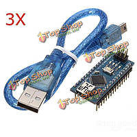 3шт схема atmega328p Arduino совместимая нано В3 улучшенная версия с кабелем USB