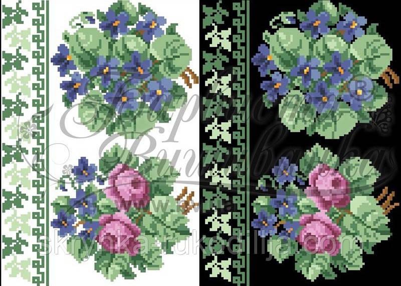 Водорозчинний пришивний флізелін з нанесеним малюнком 20х30см (Барвиста вишиванка)