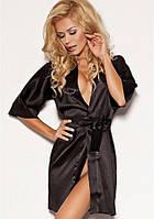 Черный сатиновый халат 90 TM Dkaren (Польша) Европейское качество!