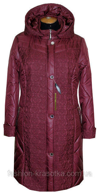 Красивая демисезонная женская куртка увеличенных размеров
