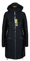 Модный женский теплый пуховик черного цвета