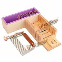 Деревянный ящик буханка мыло плесень резак поделки мыло с нержавеющей стали набора лезвий