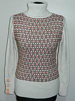 Очень теплый вязанный белый свитер женский - гольф шерсть рр. 46, 48, 50