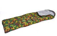 Спальный мешок одеяло с капюшоном камуфляж SY-4062 (PL,х-б, 500г на м2,р-р 168+32х70см, t+10 до -10)