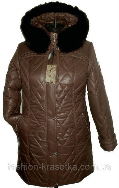 Симпатичная женская зимняя куртка с мехом увеличенных размеров