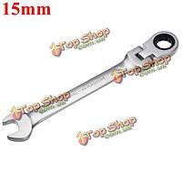15мм метрических хром гибкая головка трещотки действий ключ гаечный ключ инструмент для установки гаек