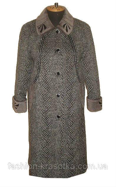 Оригинальное женское пальто с отделкой по воротнику и манжетам