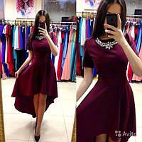 Платье женское нарядное асимметричное вечернее с шлейфом