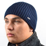 Синяя шапка с флисовой подкладкой