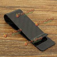 7x2.2см черного углеродного волокна держатель твердая глянцевая деньги клип наличные визитные карточки