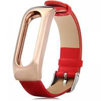 Ремешок для браслета Xiaomi Mi Band Leather Red (Лицензия)