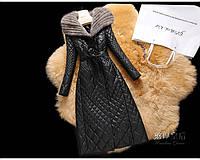 Шикарное длинное кожаное пальто в капюшоном -норка! Распродажа в остатке !
