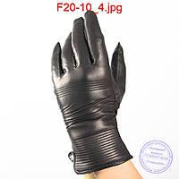 Оптом женские кожаные перчатки (лайка) на вязаной шерстяной подкладке - F20-10