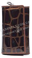 Стильная прочная лаковая кожаная ключница COZZNEE art. 38205A коричневый