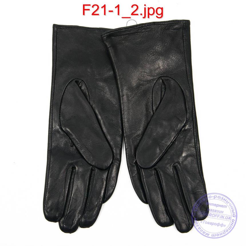 Женские кожаные перчатки на плюше - F21-1, фото 2