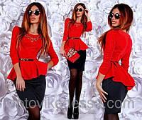 Платье женское двухцветное асимметричное с баской, фото 1
