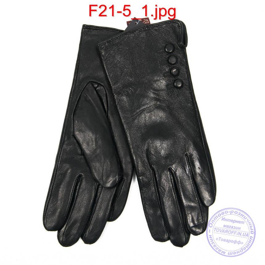 Женские кожаные перчатки на плюше - F21-5, фото 2
