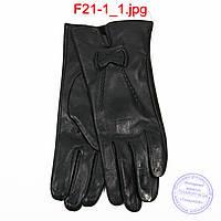 Оптом женские кожаные перчатки на плюше - F21-1