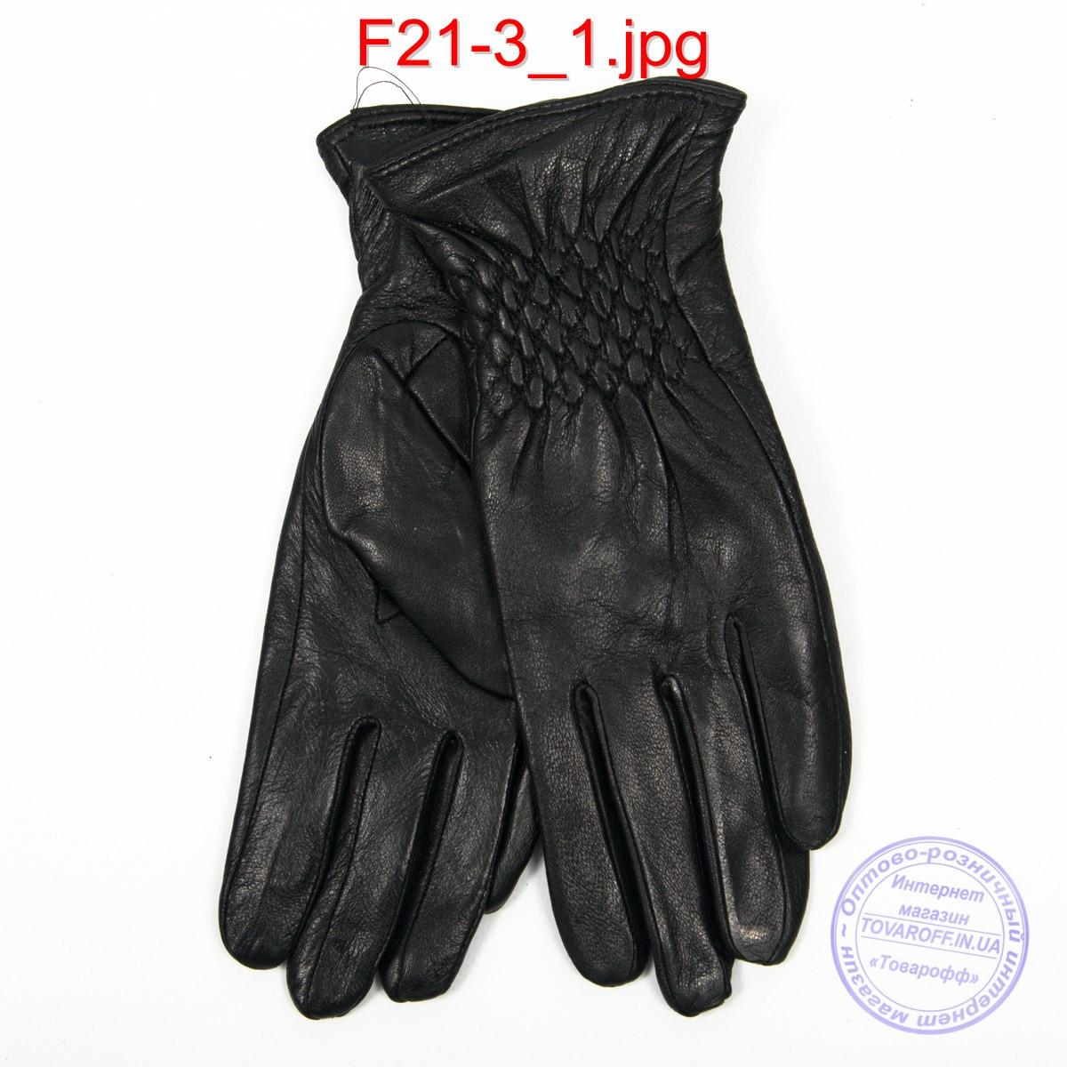 Оптом женские кожаные перчатки на плюше - F21-3