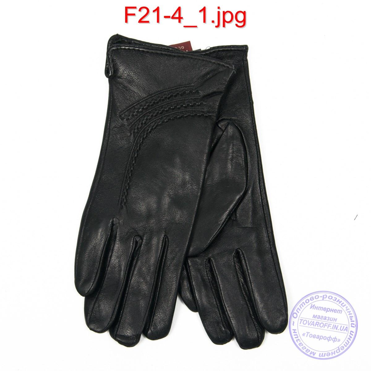 Оптом жіночі шкіряні рукавички на плюше - F21-4
